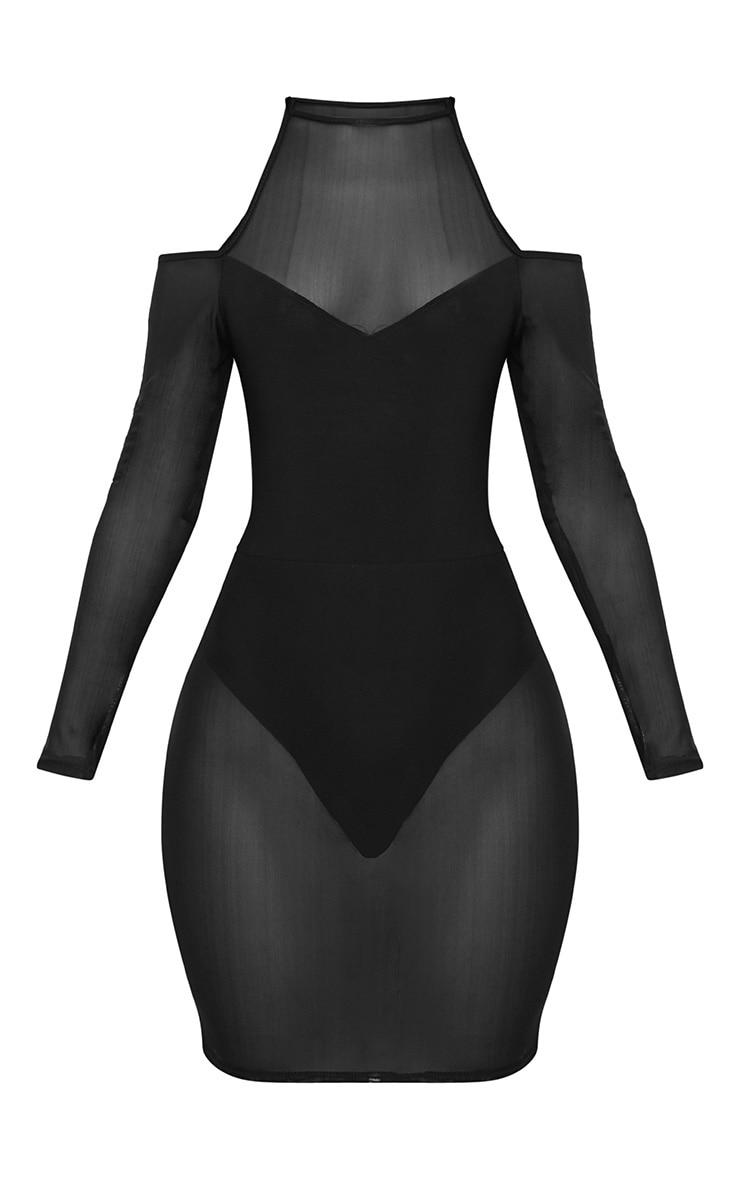 Black High Neck Long Sleeve Mesh Cut Out Bodycon Dress 3