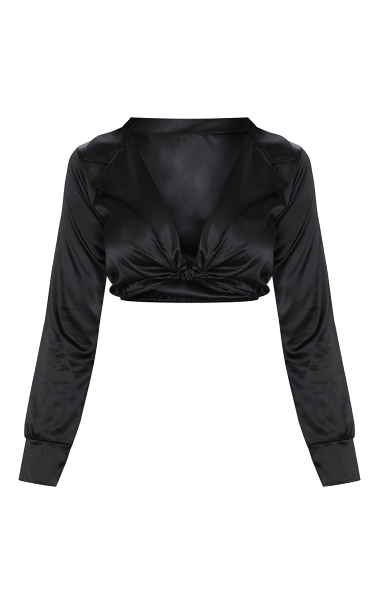 Black Satin Tie Front Cropped Blouse 3