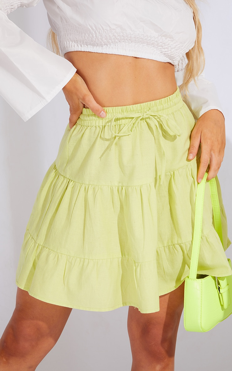 Pale Lime Cotton Drawstring Tiered Skater Skirt 5