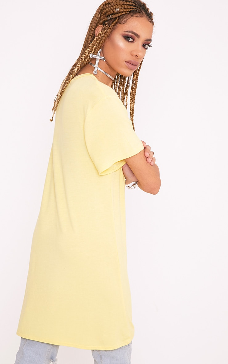 Basic Lemon Short Sleeve T Shirt Dress 2