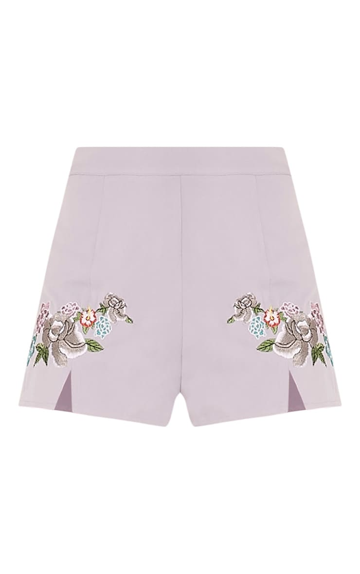 Angie Petite Grey Floral Embroidered Shorts 3