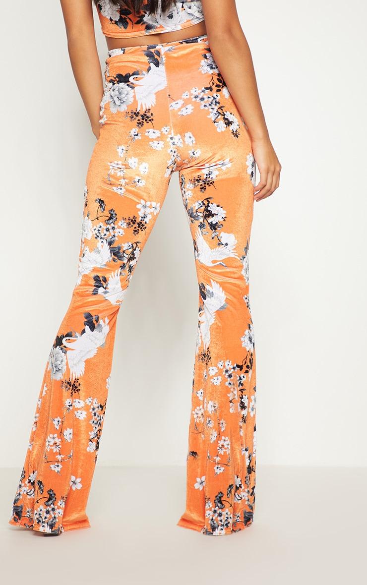 Petite Orange Floral Velvet Flared Trousers 4