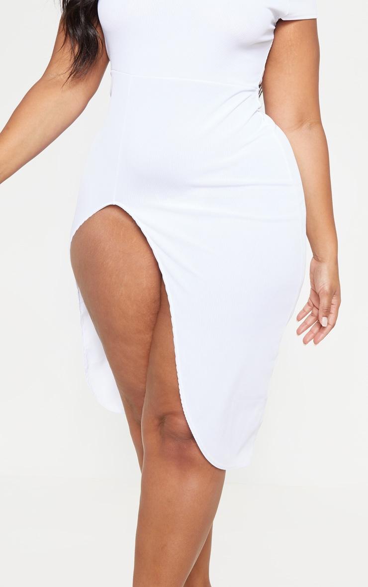 PLT Plus - Robe mi-longue blanche côtelée à manches courtes fendues 5