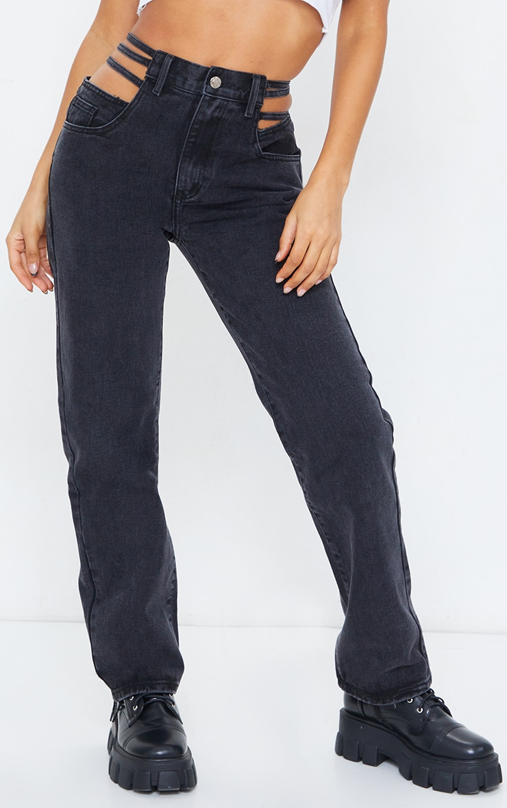 Washed Black Strappy Cut Out Hip Straight Leg Jeans 2