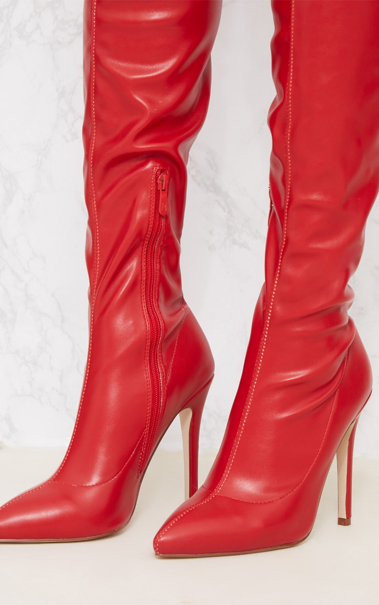 Red PU Pointed Thigh High Boot 5