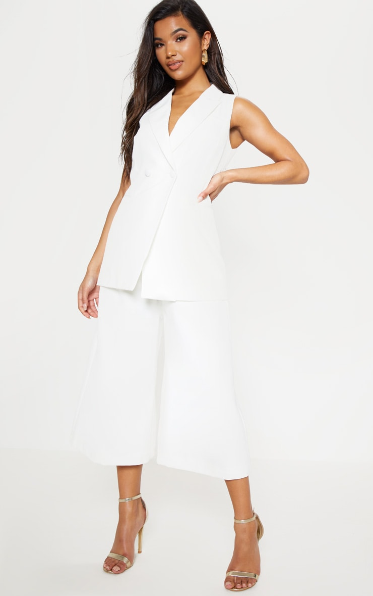 White Sleeveless Bodycon Blazer 5