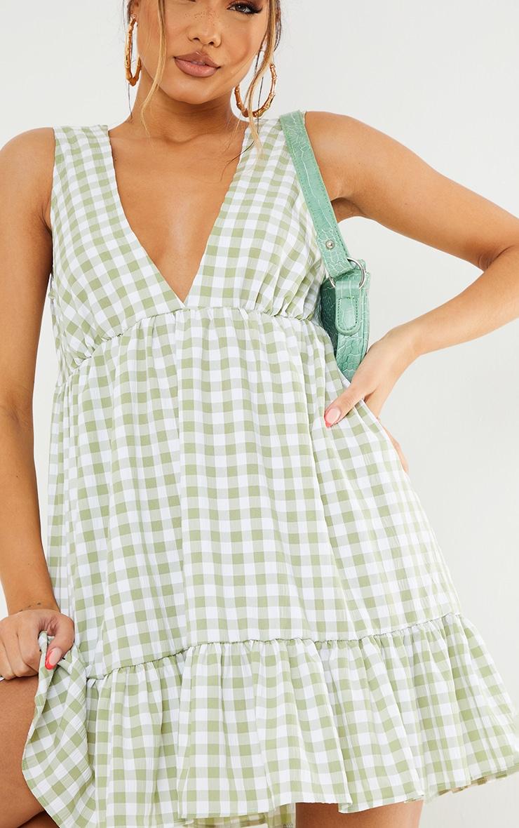Sage Green Gingham V Neck Frill Hem Sleeveless Shift Dress 4