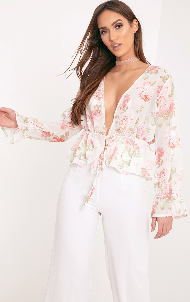 Femie Nude Floral Print Plunge Blouse 1