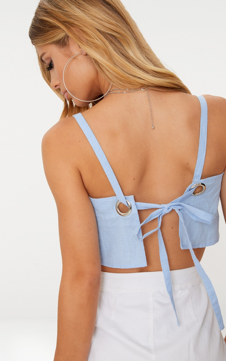 Blue Linen Feel Ring Detail Open Back Crop Top 4