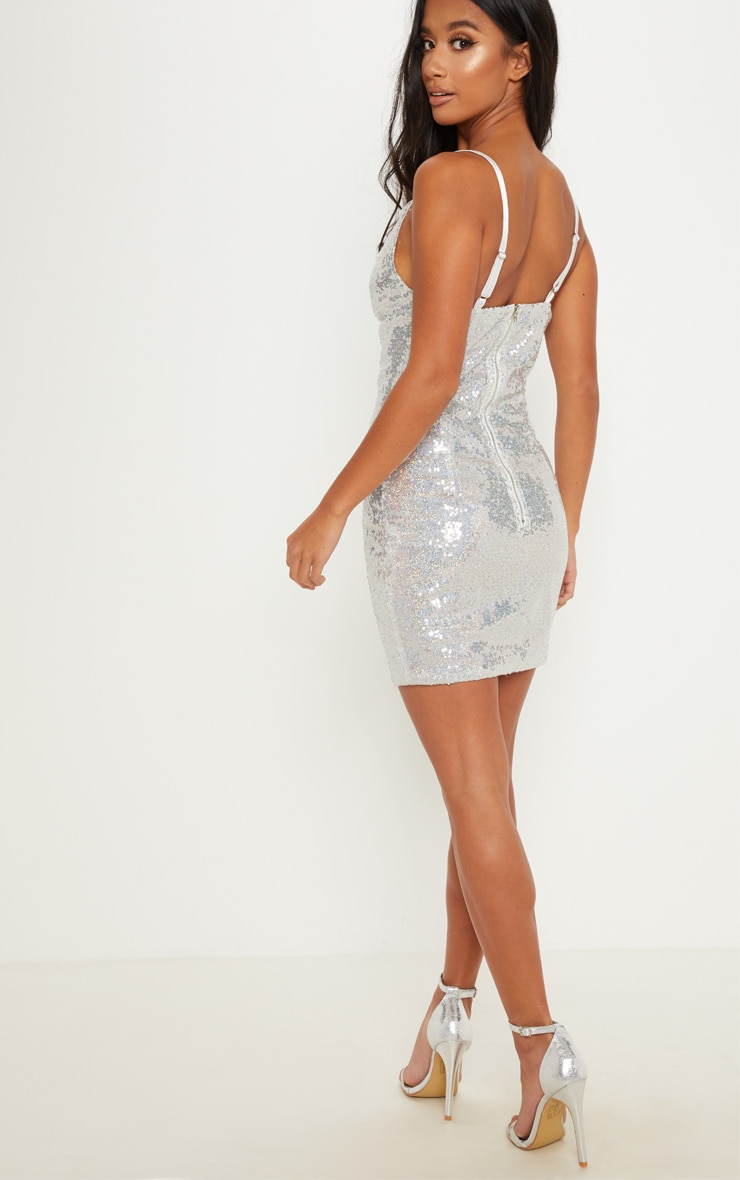 Petite Silver Sequin Cowl Neck Mini Dress 2
