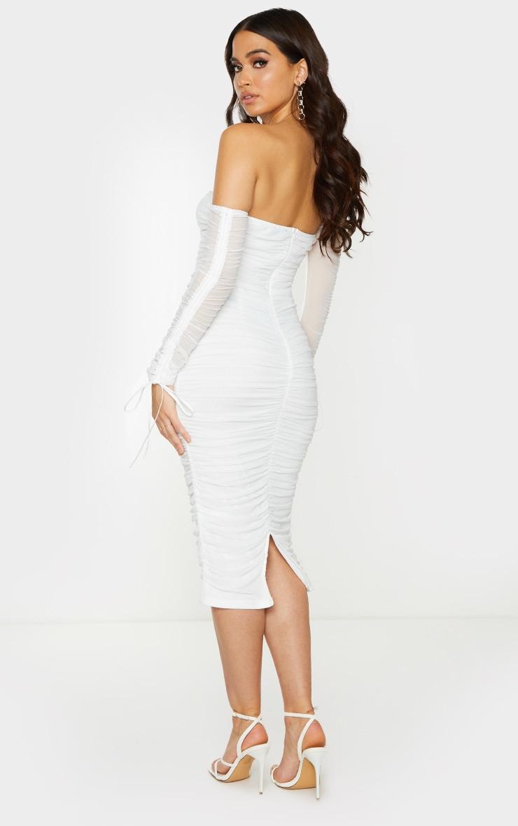 White Mesh V Bar Ruched Detail Bardot Midi Dress 2