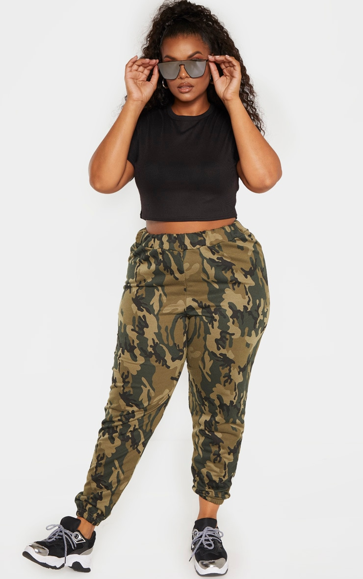 Plus Khaki Camo Track Pants 1