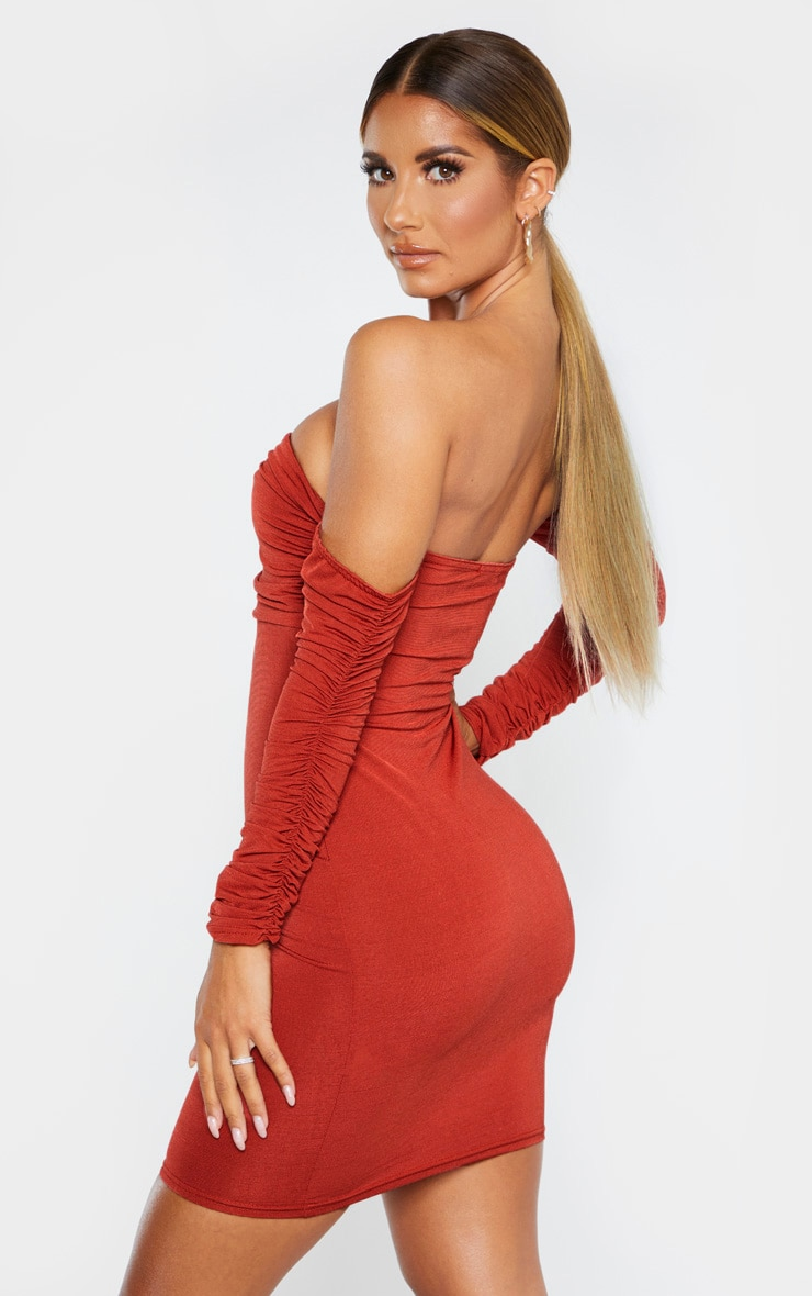 Rust Ruched Front Ruched Arm Bardot Bodycon Dress 2