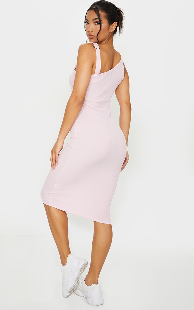 Baby Pink Ribbed Asymmetric Neck Midi Sleeveless Dress 2