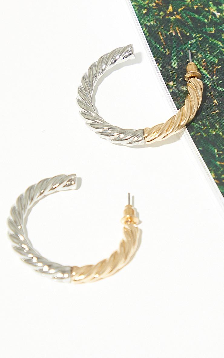 Gold Mixed Metal Rope Twist Hoop Earrings 1