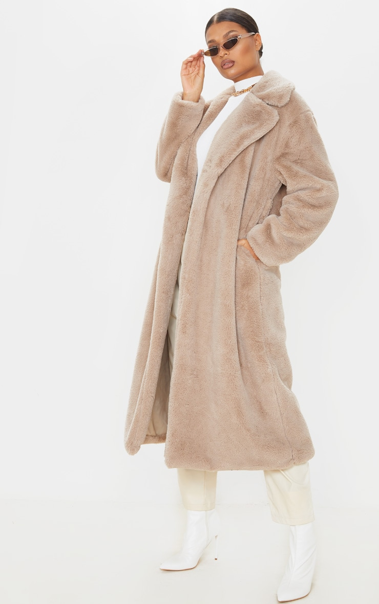 Taupe Belted Faux Fur Coat  5