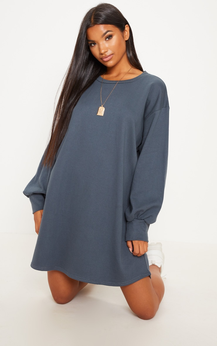 Charcoal Oversized Sweater Dress 1
