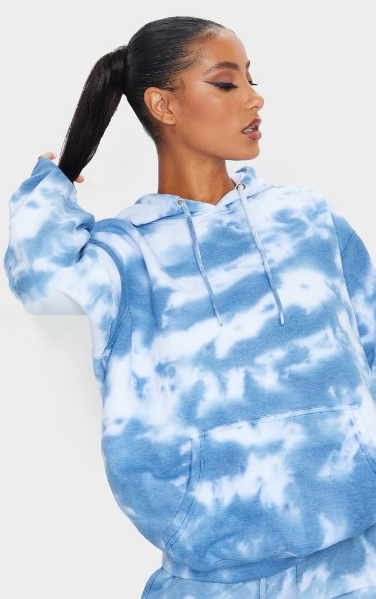 Blue Oversized Tie Dye Hoodie 4