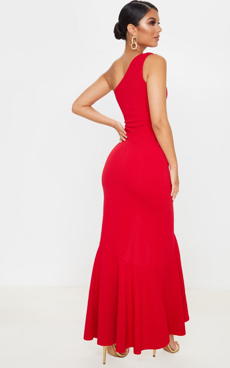 Red One Shoulder Frill Split Maxi Dress 2