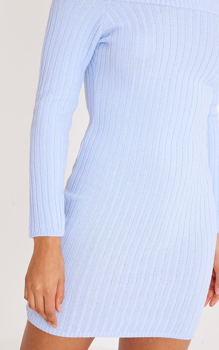 Julia Dusty Blue Knit Bardot Jumper Dress 5