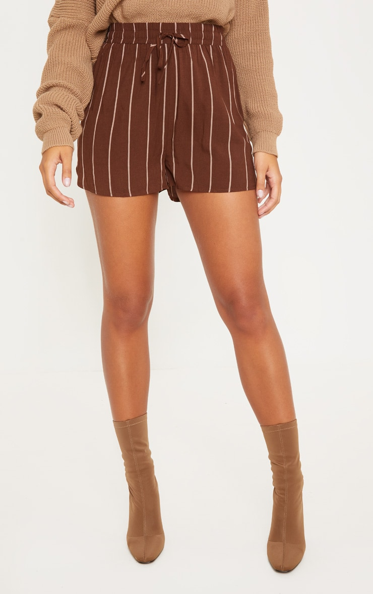 Chocolate Stripe Drawstring Waist Casual Short 2
