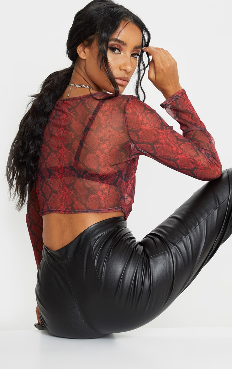 Red Snake Print Long Sleeve Ruched Mesh Crop Top 3