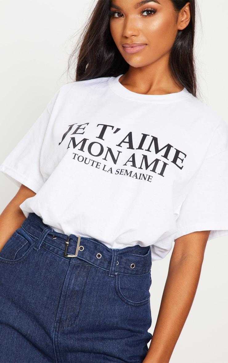White Je Taime Slogan T Shirt 5