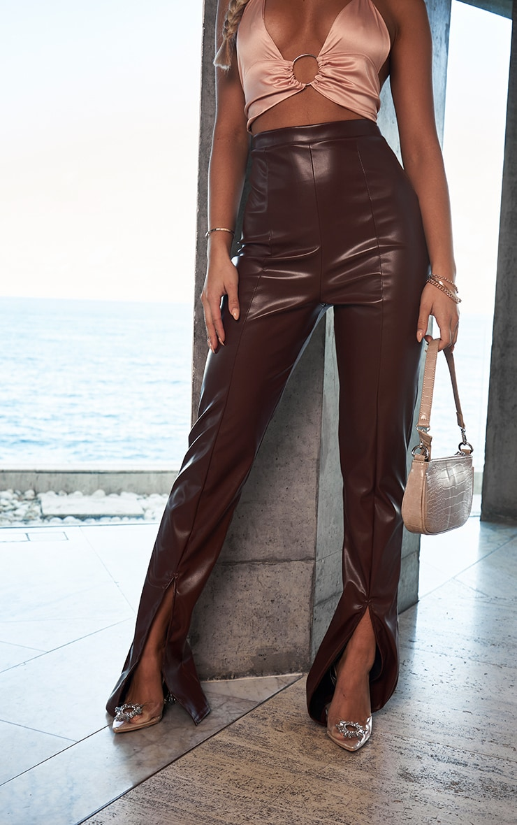 Chocolate Faux Leather Seam Detail Split Hem Trousers 2