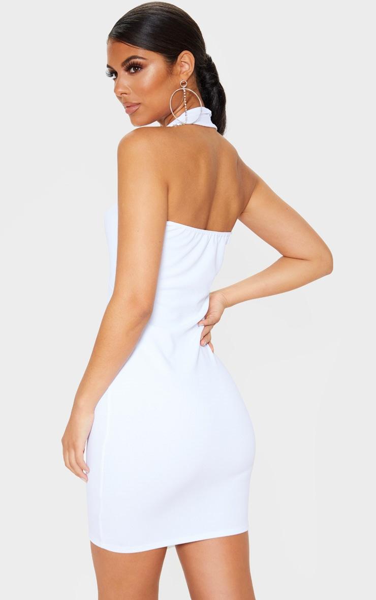 White Halterneck Detail Bodycon Dress 2