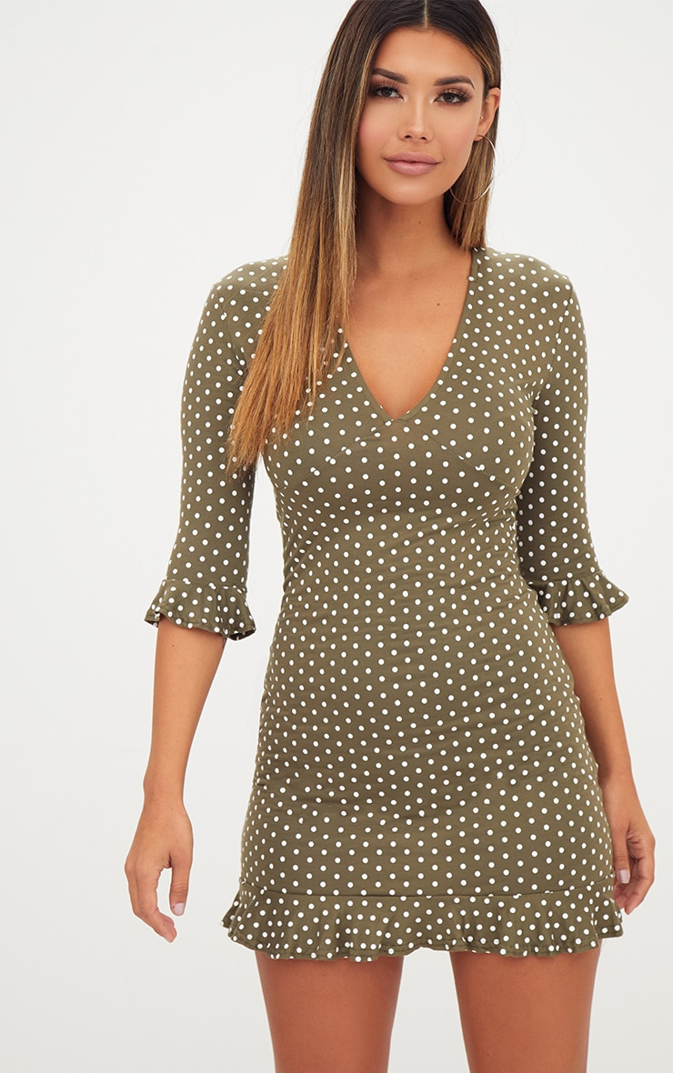 Khaki Polka Dot Frill Hem Shift Dress 1