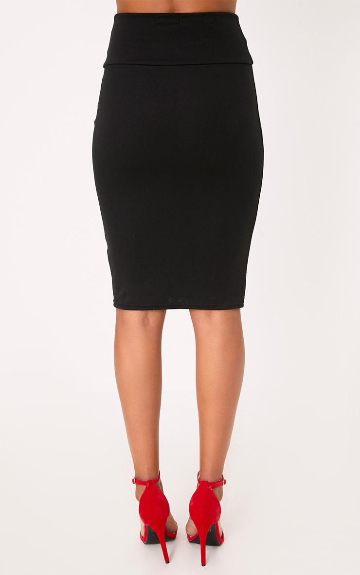 Black Corset Waist Midi Skirt 4