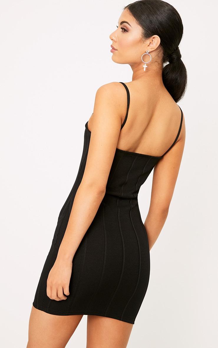 Black Straight Neck Bandage Bodycon Dress 2