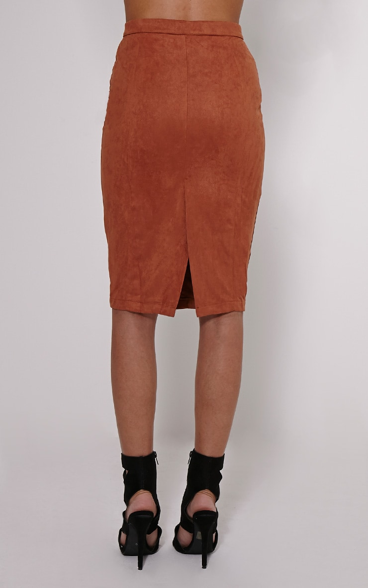 Meemee Tan Button Front Suede Midi Skirt 4