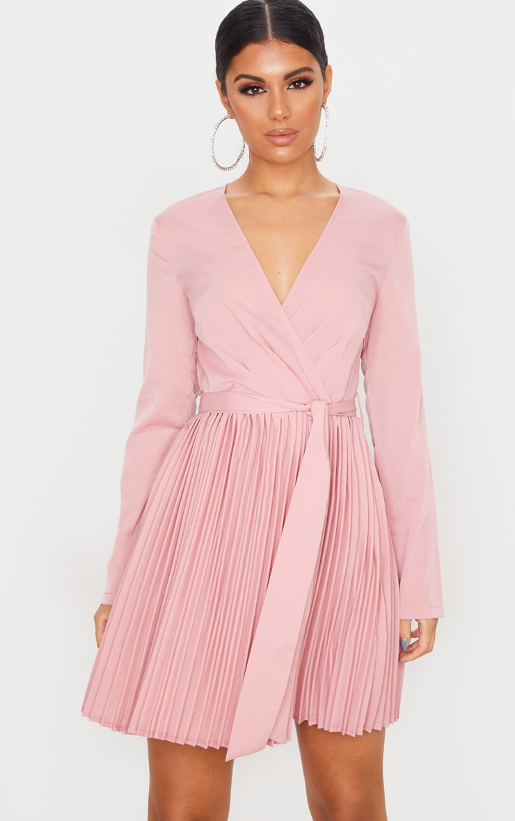 Dusty Pink Long Sleeve Pleated Skater Dress 1