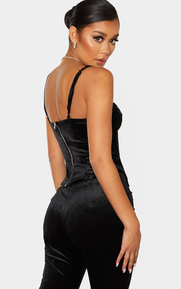 Black Velvet Structured Corset Top 2