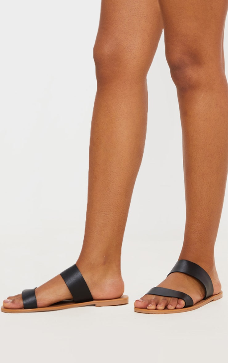 Black Wide Fit Leather Twin Strap Sandal 3