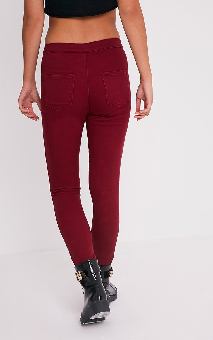 Dark Red High Waisted Skinny Jean 2