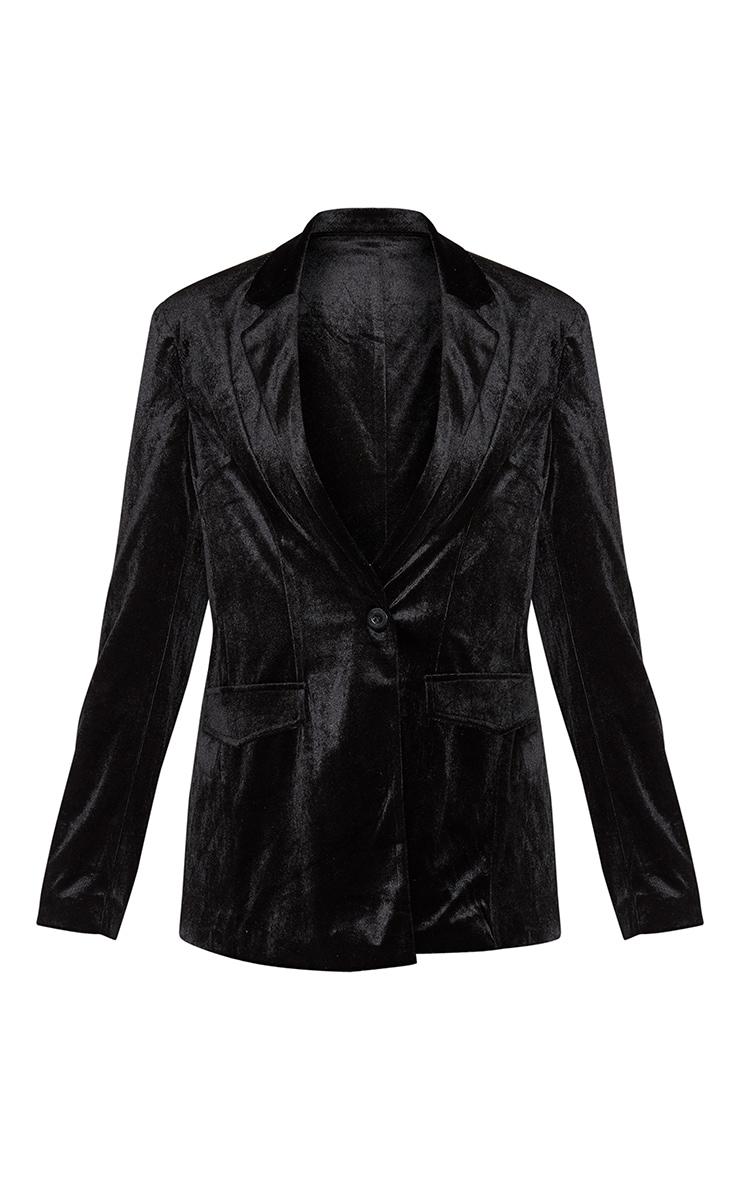 Black Longline Velvet Blazer 3