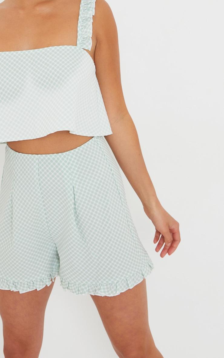 Petite Green Gingham Ruffle Shorts 5