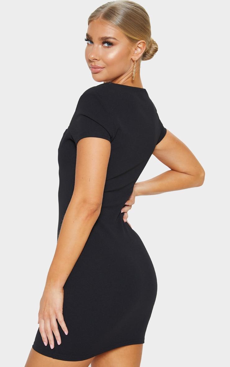 Black Short Sleeve V Plunge Bodycon Dress 2