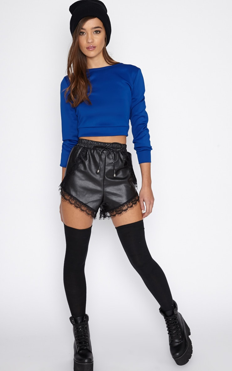 Grace Blue Cropped Scuba Sweater 3