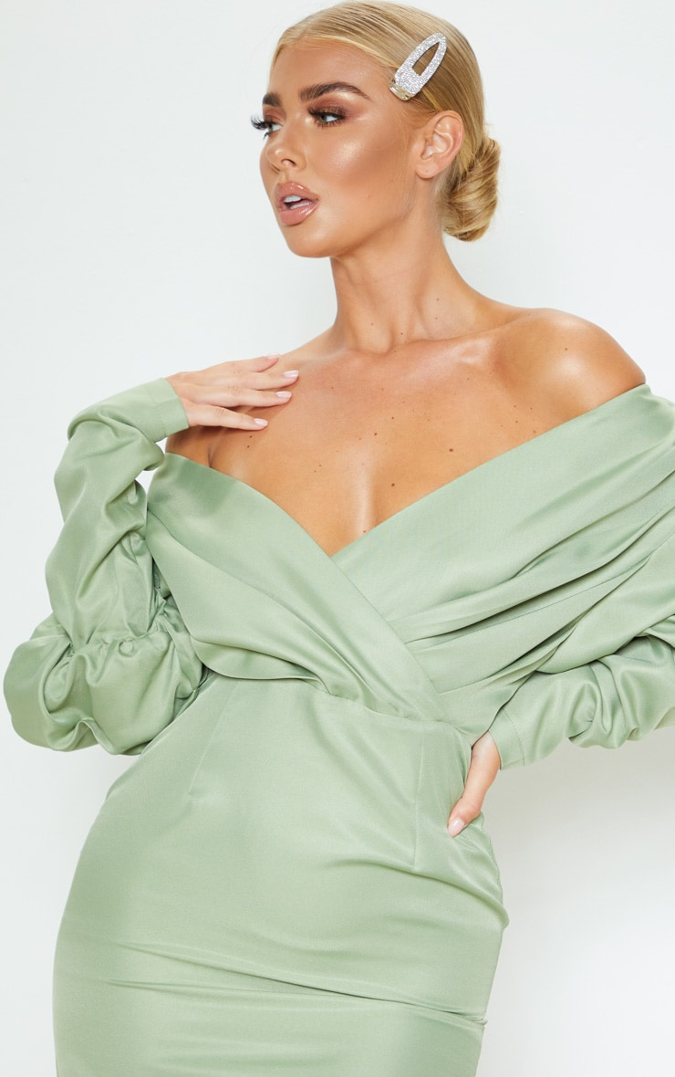 Sage Green Off The Shoulder Ruched Bodycon Dress 6