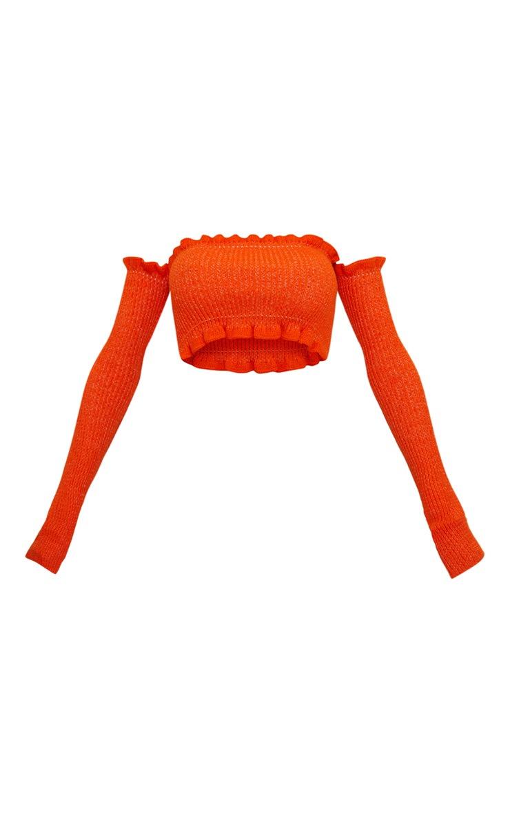 Orange Ruffle Detail Knit Bardot Long Sleeve Top 3
