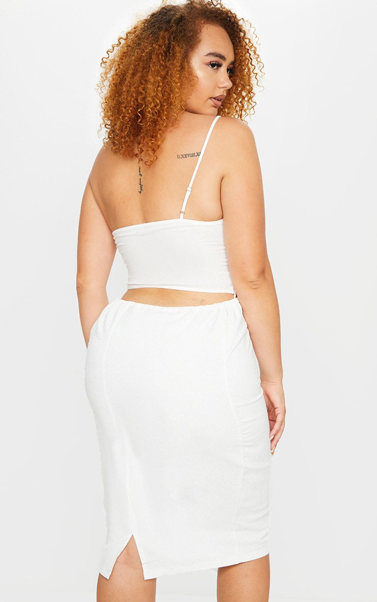 Plus White Woven Asymmetric Crop Top 2