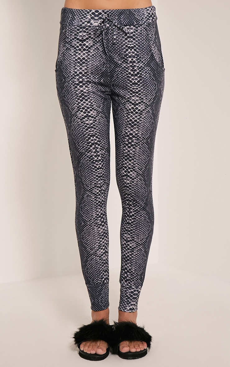 Tayah Grey Snake Print Fitted Joggers 2