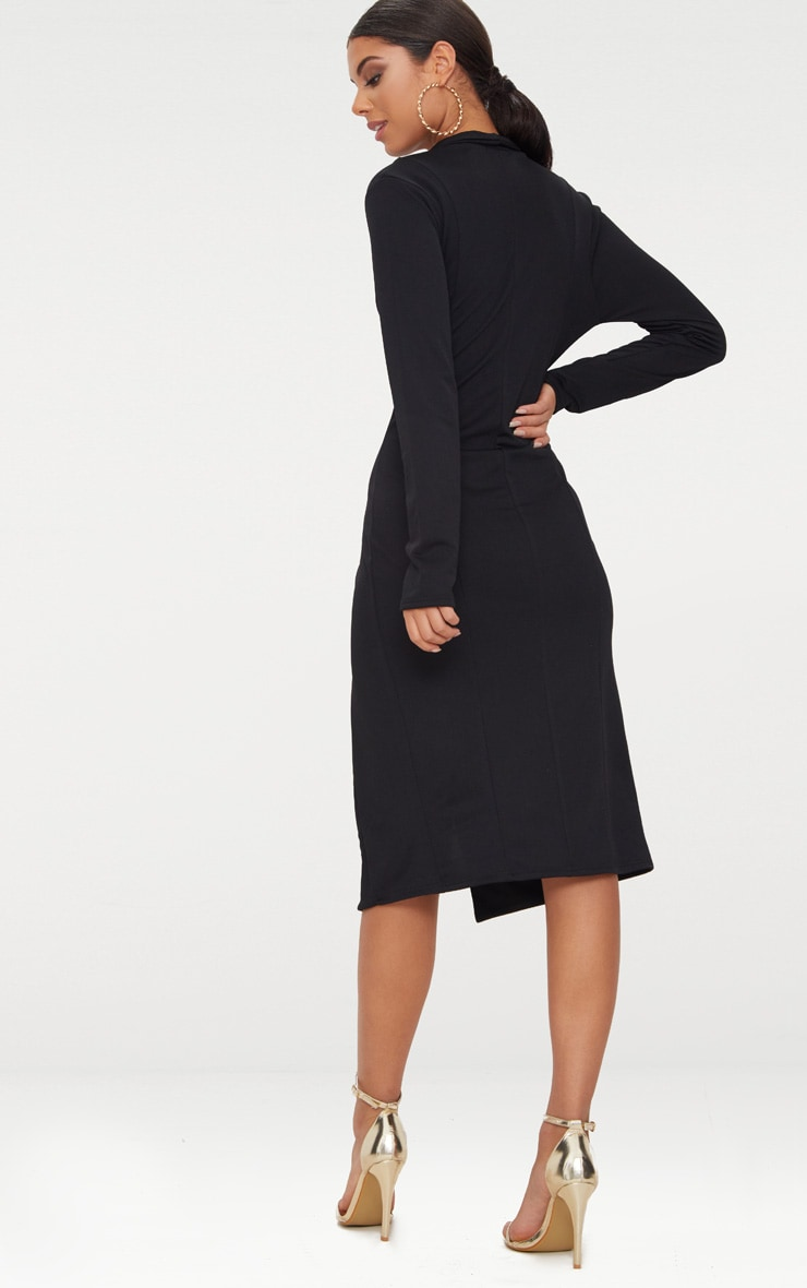 Black Button Detail Blazer Midi Dress 2