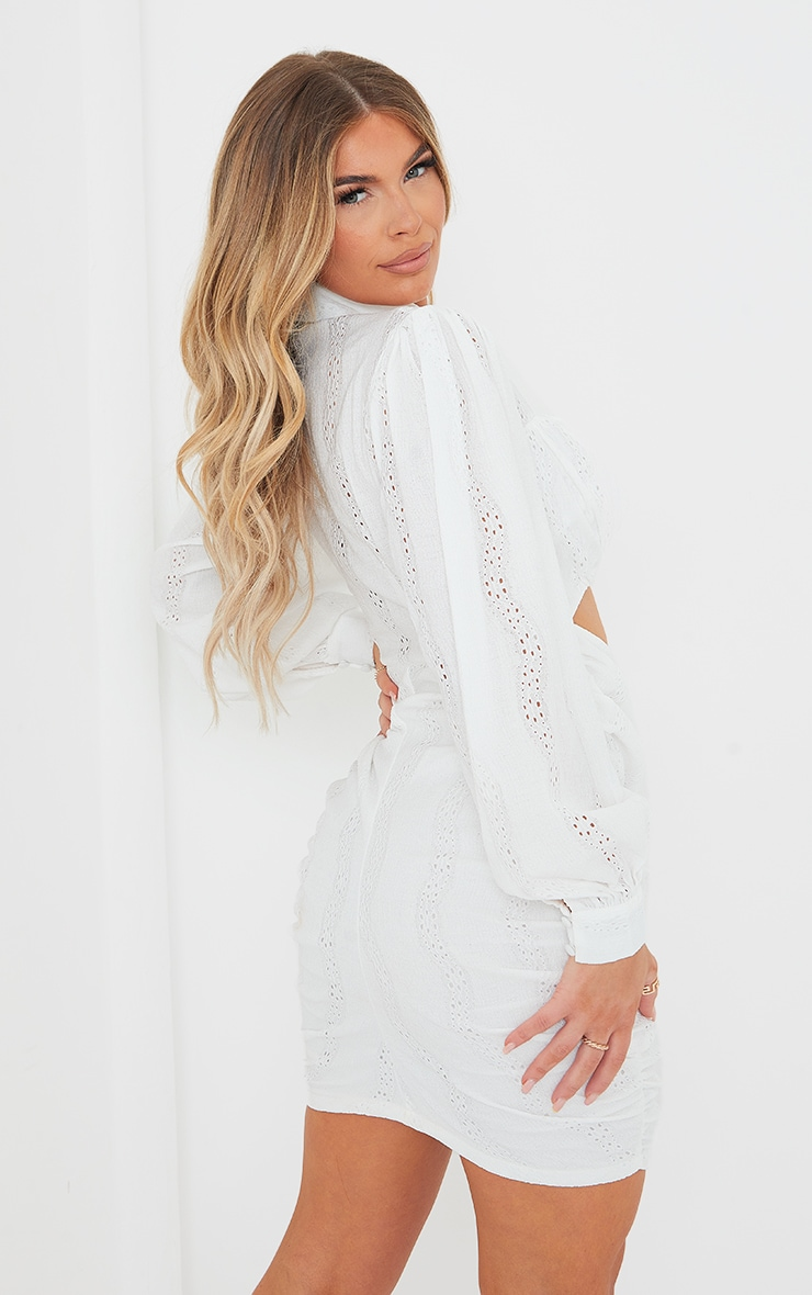 White Textured Cut Out Ruched Long Sleeve Bodycon Dress 2