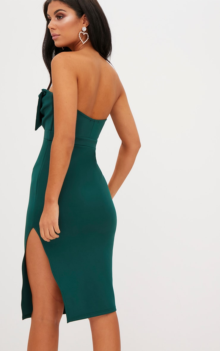 Emerald Green Bow Detail Scuba Midi Dress 2
