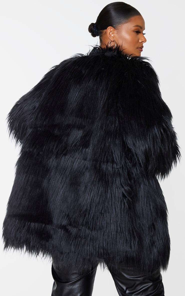 Plus Amaria Black Shaggy Faux Fur Jacket 2