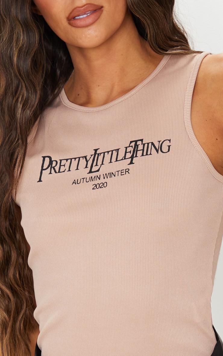 PRETTYLITTLETHING Sand Rib Printed Vest 4